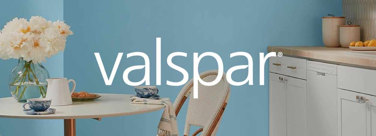 Shop Valspar paints with Valspar logo and blue painted room
