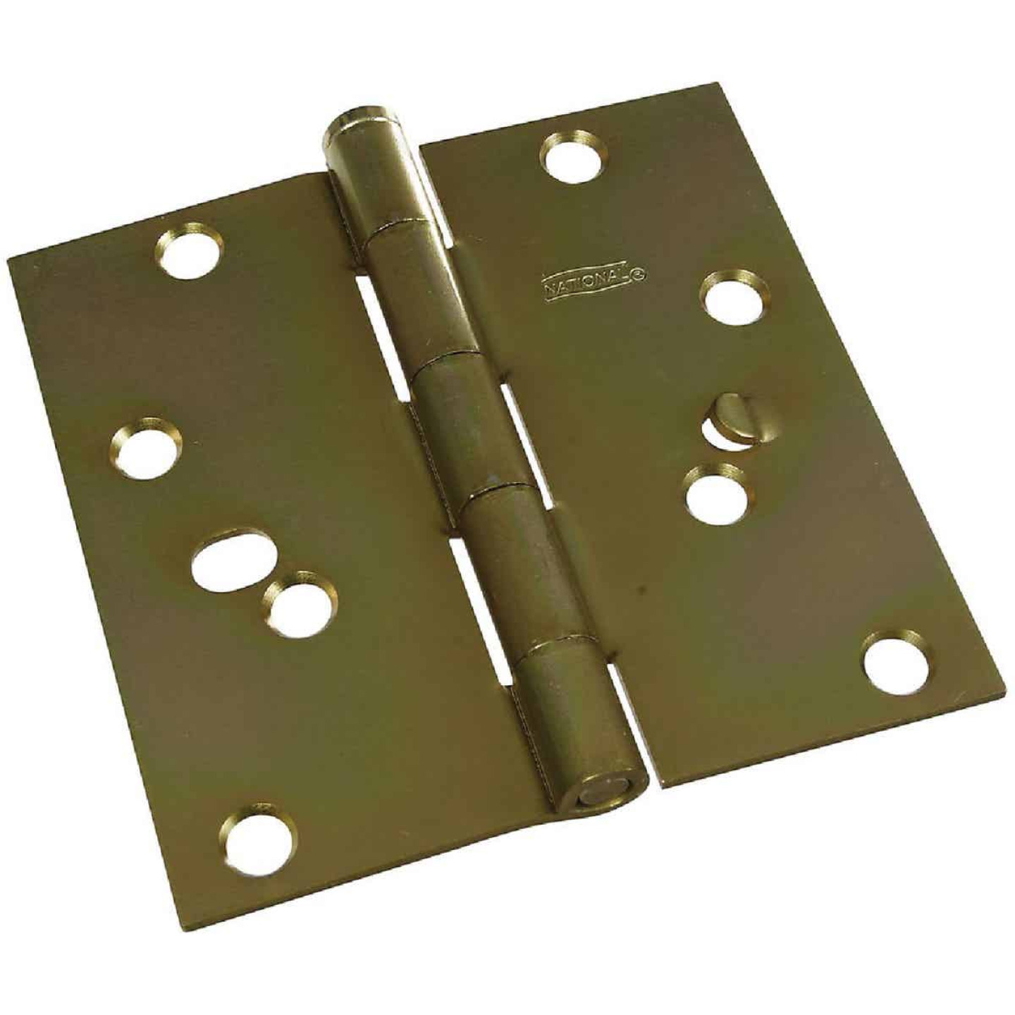 National 4 In. Square Satin Brass Security Door Hinge Image 1