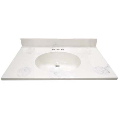 Modular Vanity Tops 31 In. W x 22 In. D Marbled Dove Gray Cultured Marble Flat Edge Vanity Top with Oval Bowl