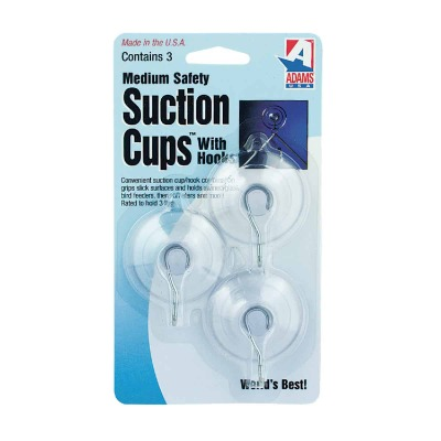 Adams 1-3/4 In. 3 Lb. Holding Capacity Suction Cup with Metal Hook (3-Pack)