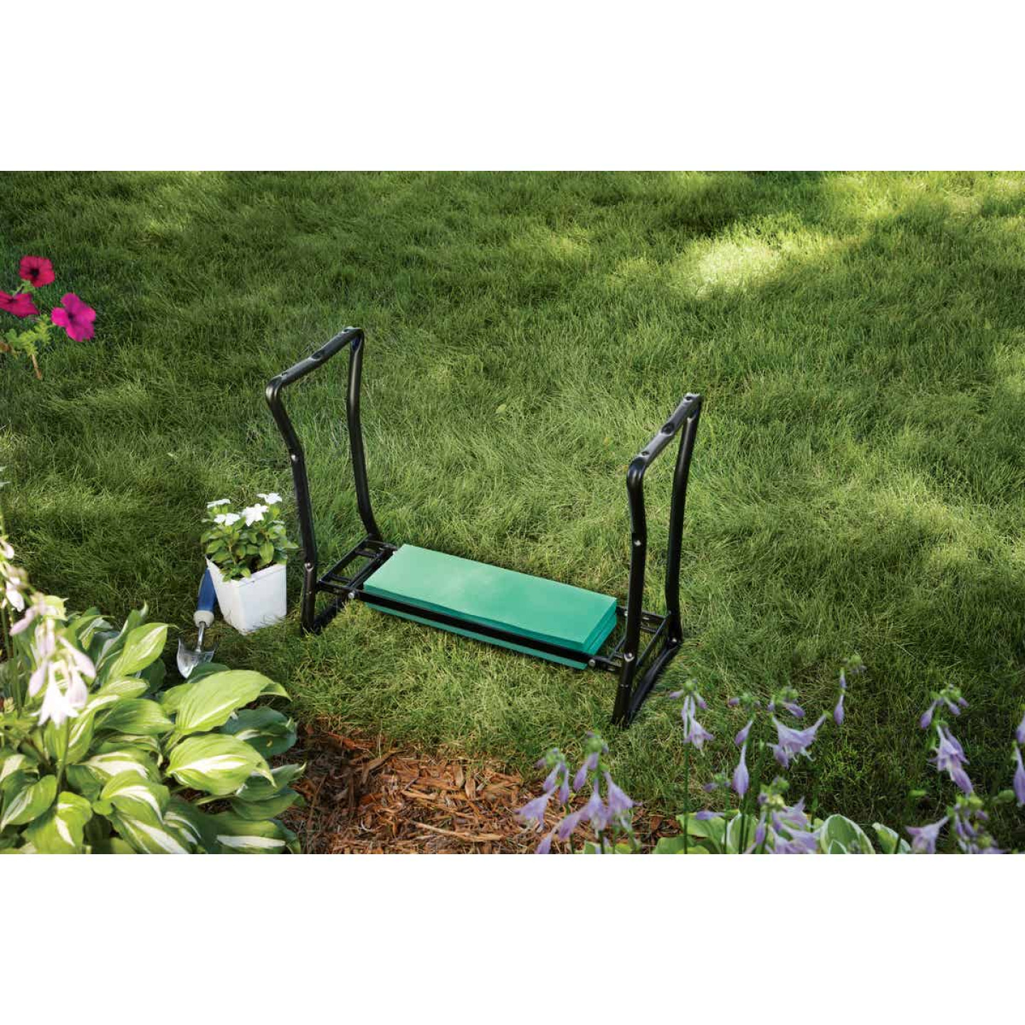 Best Garden Green Foam Pad w/Black Steel Frame Garden Kneeler Bench Image 11