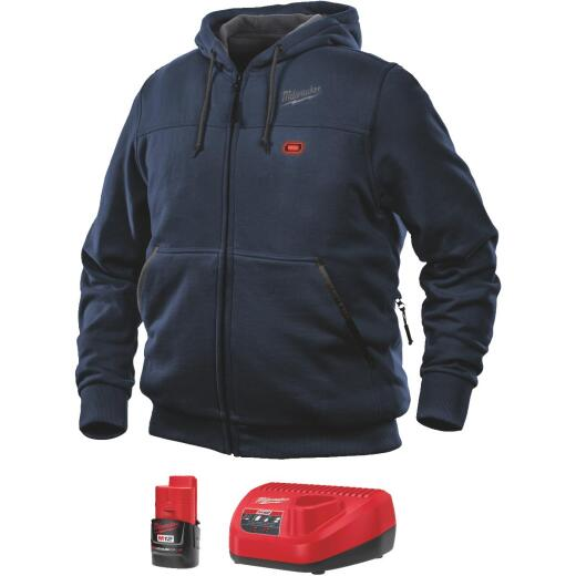 Milwaukee M12 XL Navy Blue Men's Heated Full Zip Hooded Sweatshirt