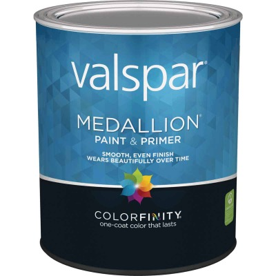 Valspar Medallion 100% Acrylic Paint & Primer Flat Interior Wall Paint, White, 1 Qt.