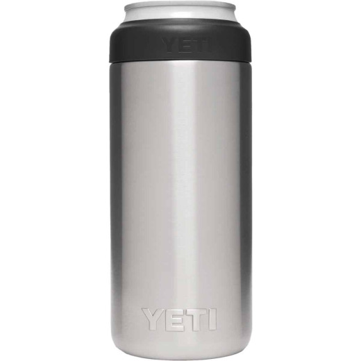 Yeti Rambler Colster Slim 12 Oz. Silver Stainless Steel Insulated Drink Holder with Load-And-Lock Gasket